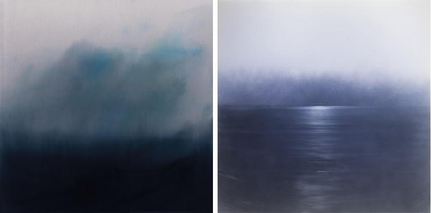 Miya Ando - Komorebi (Light Flitering Through the Trees), 2016 (Left) / Ephemeral Blue White, 2013 (Right) contact aluminum cloud