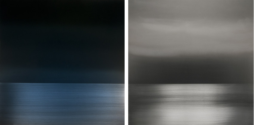Miya Ando - Winter Blue Reflection, 2014 (Left) / Emptiness the Sky Faint Pink, 2014 (Right) english cookies aluminum cloud