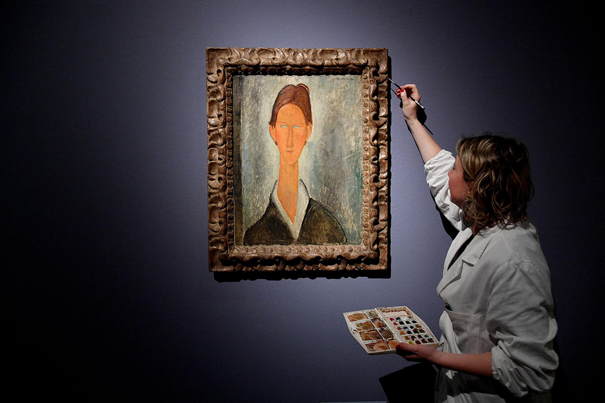 Modigliani Painting in an Exhibition in Genova. ANSA, Luca Zennaro