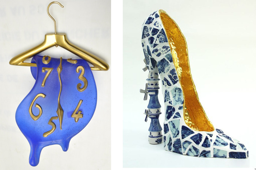 Montre Molle au Cintre 1980 - Image via Auction fr; Joyce de Gruiter - Windmill High Heels - Unique artwork made of reduced and recycled ceramic - via Virtualshoemuseum com