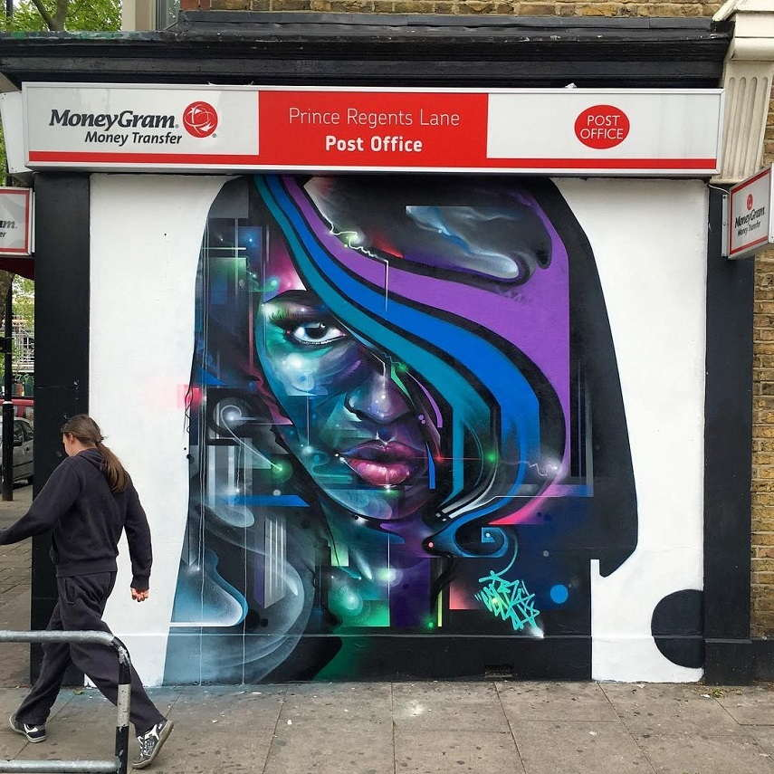 Mr Cenz - Mural in Newham, 2016