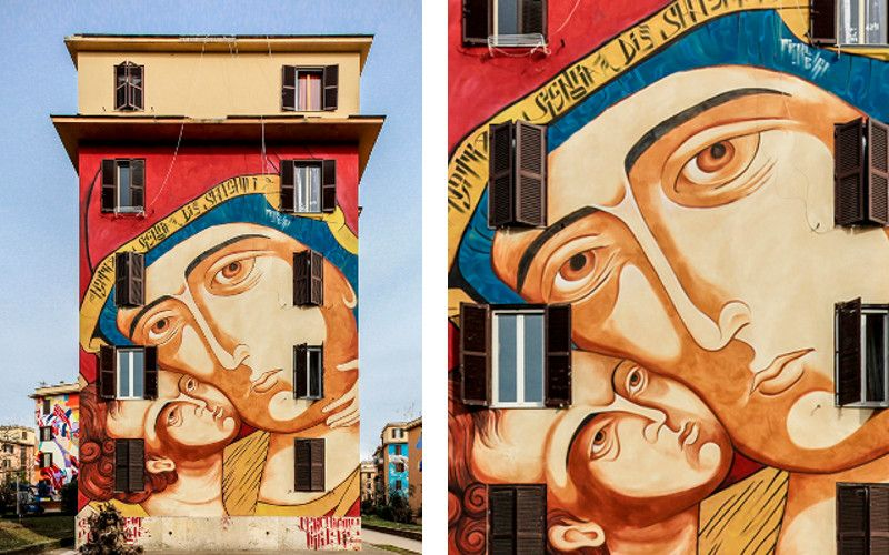 Mr Klevra - Ecce Homo, 2015 - mural in Rome, Italy (with detail)