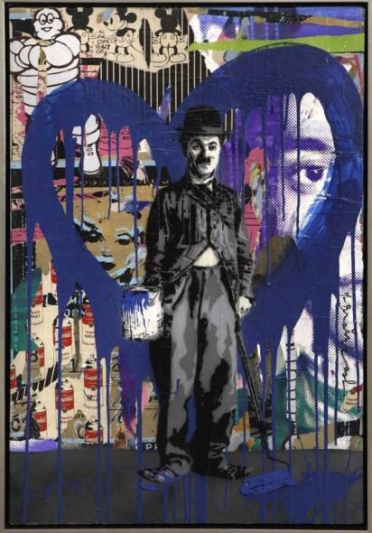 Mr. Brainwash-Chaplin (Blue Heart)-