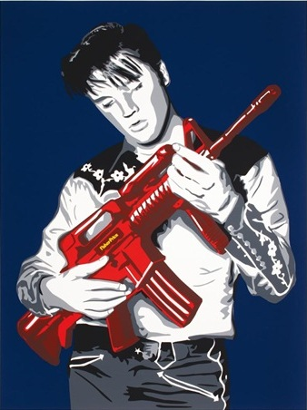 Mr. Brainwash-Don't Be Cruel (Blue Background, Red Gun Edition)-2008