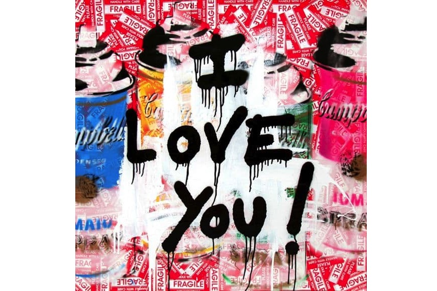 Mr. Brainwash - I Love You!, 2016; you can make paper heart, but also give art for valentines