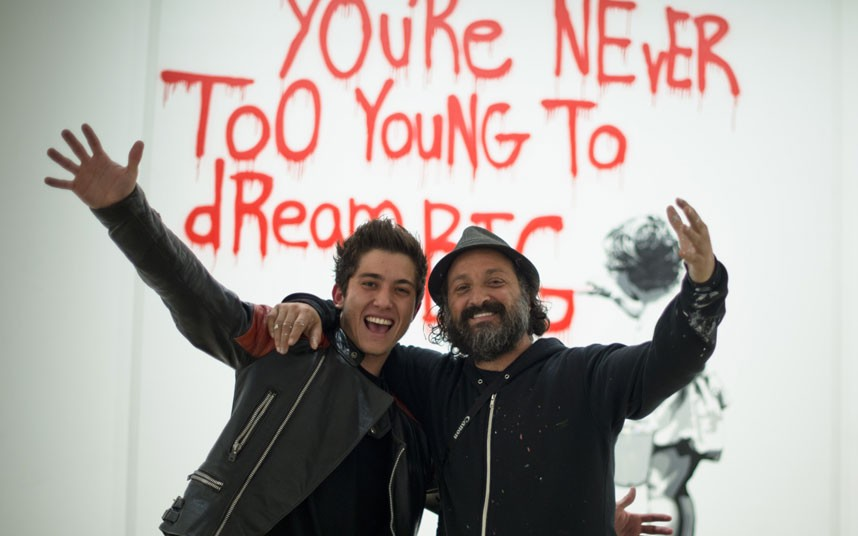 Mr. Brainwash with his son, Hijack 2015