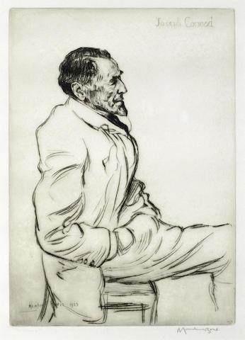 Muirhead Bone-Joseph Conrad, Listening to Music-1923