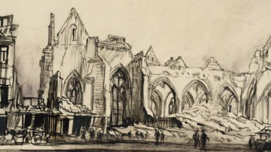 Muirhead Bone - Ruins of the Church at Péronne, April 1917 (detail), 1917, photo credits - Tate