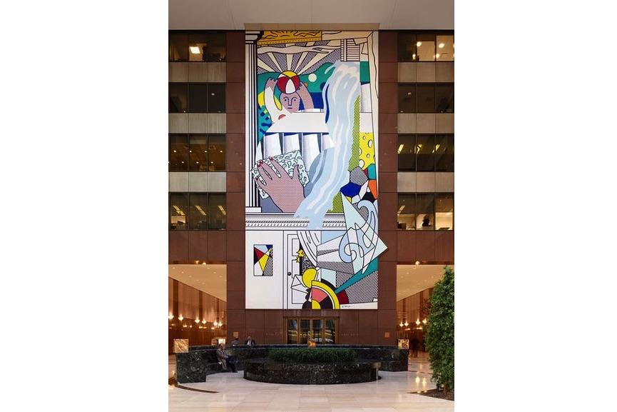 the American artist Roy Lichtenstein (one of the contemporaries of Andy Warhol, Mural with Blue Brushstroke, 1984–86; the roy lichtenstein foundation