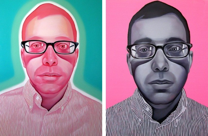 Myung Hwang - Invisible Men, 2007 (left), Invisible Men Black & Pink, 2008 (right)