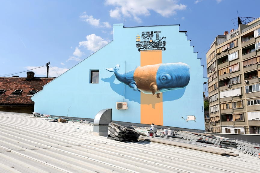 NEVERCREW - Imitation of Life and Machine n°9, 2014 - Mural realized over the Mikser House in Belgrade (Serbia)