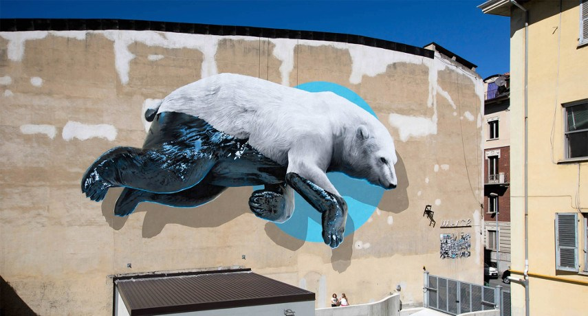 NEVERCREW is a painting machine that realized a mural for Lugano festival in 2015