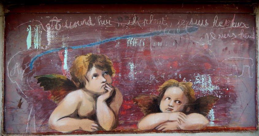 Nadege Dauvergne - Aujourd'hui, il pleut, je suis heureux, 2015, Les angelots reveurs de Raphael, Paris, France, photo credits - Nadege Dauvergne