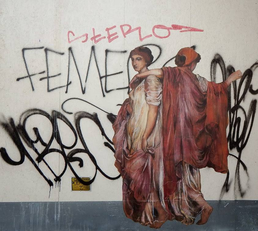 Nadege Dauvergne -  D'apres l'œuvre d'Albert Joseph Moore, Abricots, 2014, Paris, photo credits - artist, collages, street art