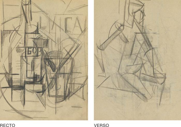 Nadezhda Andreevna Udaltsova-Still Life With Bottle (A Double-Sided Drawing)-