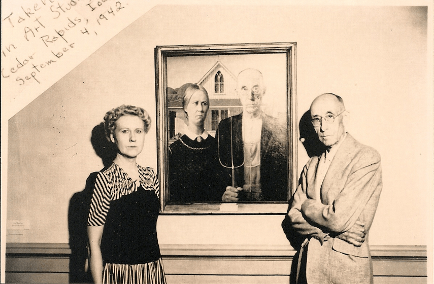 Nan Wood Graham and Dr. Byron McKeeby Eldon in front of the most recognizable painting in american history