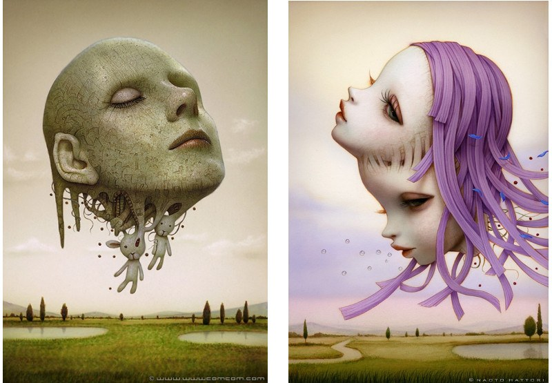 Naoto Hattori - Life Generator, 2012 (left), Purple Haze, 2014 (right) - The opening of the beautiful exhibition Inches and a Board was in the April 2013 - sold in 2016 to the acrylic group