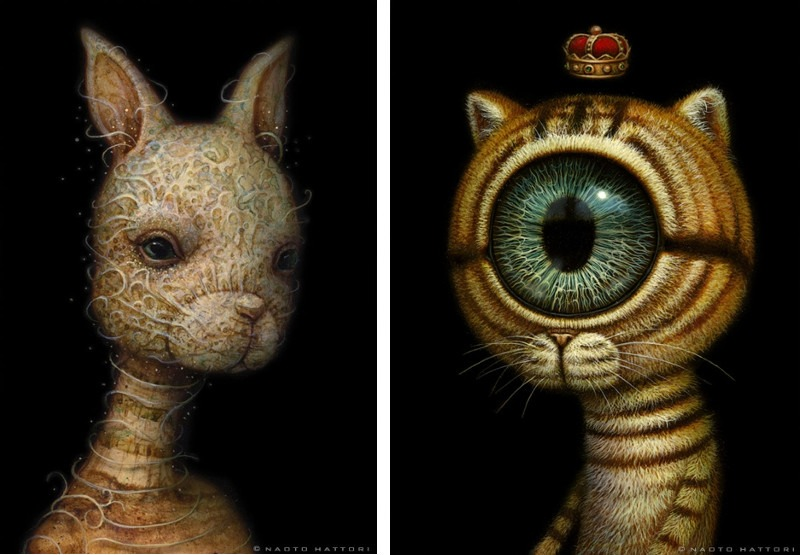 Naoto Hattori - Silent Consciousness, 2014 (left), King Eyecat, 2014 (right) - The opening of the beautiful exhibition Inches and a Board was in the April 2013 - sold in 2016 to the acrylic group