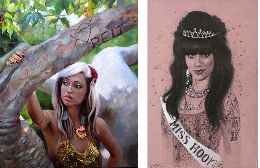 Natalia Fabia - Climbing Trees, 2009 (left), Miss Hooker, 2009 (right) - nataliafabia shows at little home
