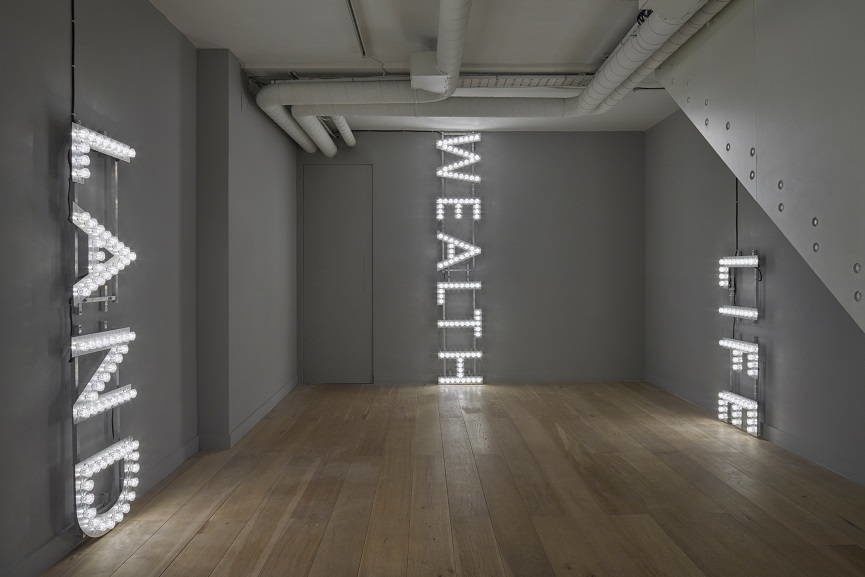 Nathan Coley text works, installation view 1