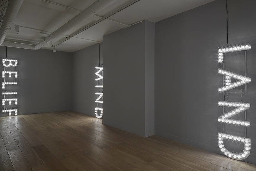 Nathan Coley text works, installation view.