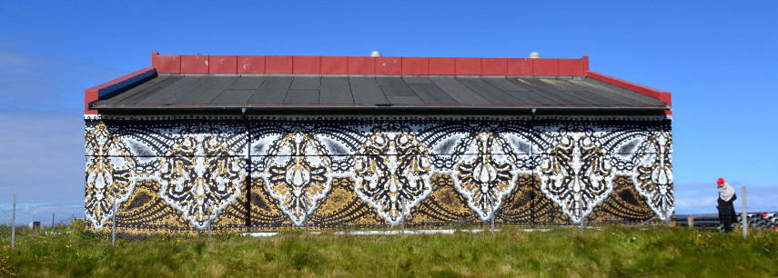 NeSpoon - Mural in Lofoten, Norway, 2017 - Image courtesy of the artist