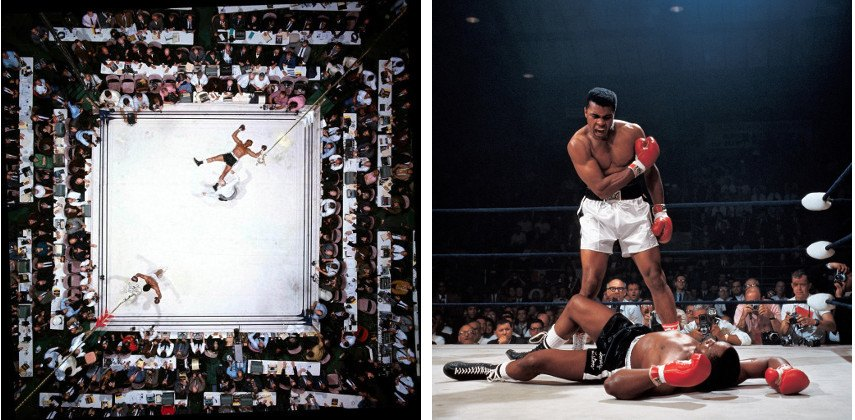 Neil Liston- Muhammad Ali vs. Cleveland Williams, Houston Astrodome Privacy (Left) ----- Muhammad Ali Fight (Right) - Images via 1stdibscdncom and abduzeedocom