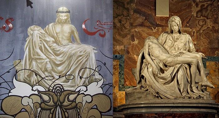 Neve - Scala Mercalli's La Pieta next to Michelangelo's Pieta