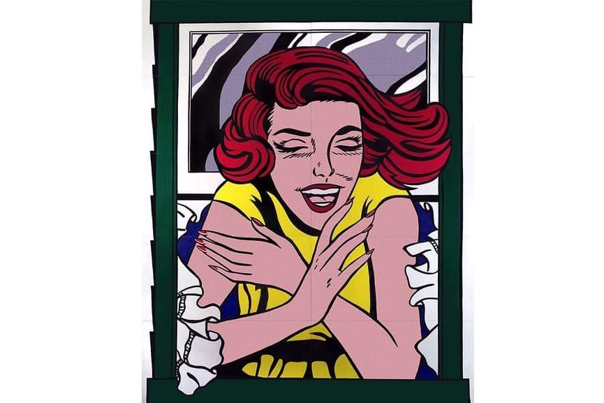the American artist Roy Lichtenstein, New York World's Fair Mural (Girl in Window), 1963; the roy lichtenstein foundation; on view next to andy warhol