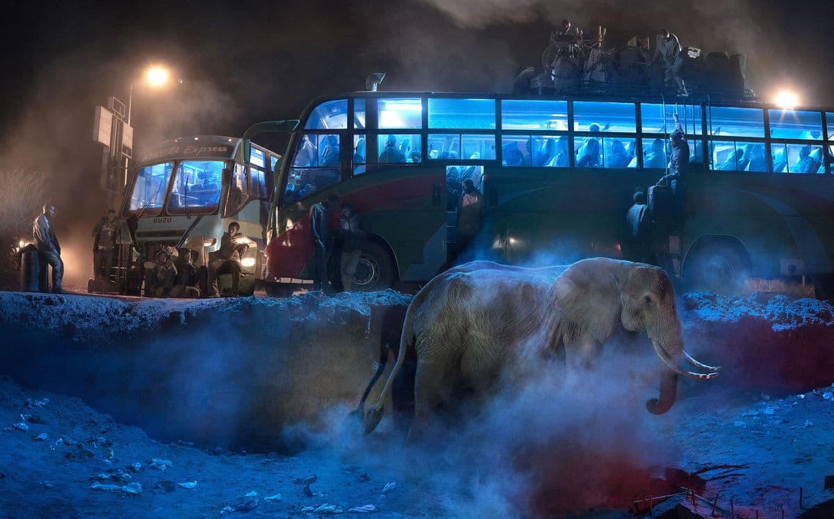 Nick Brandt - Bus Station With Elephant in the Dust, 2018