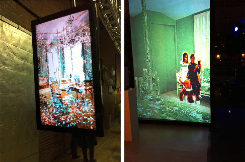 Nicole Cohen - Left: Champagne Room at the Moving Image Art Fair in NYC/Right: Studio Visits, An Interactive Video Installation at The Brooklyn Museum of Art 1