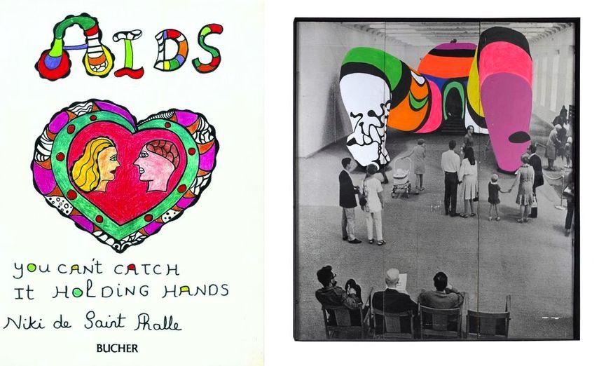 Niki de Saint Phalle - Book cover for AIDS, you can't catch it holding hands, 1986 Niki de Saint Phalle -Photo de la Hon repeinte, 1979