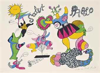 Niki de Saint Phalle-Salut Pablo, from Hommage a Picasso-1973