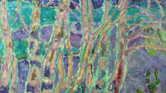 Nina Lugovskaya - Purple Birch Trees, 1960s (detail)