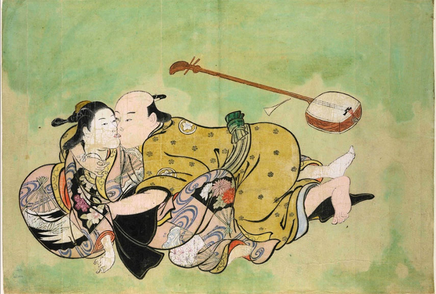 artists like kiyonaga utamaro and kunisada come from a school which created woodblock prints of woman lovers