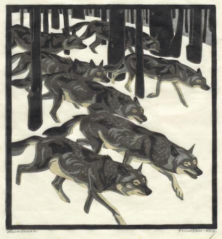 Norbertine von Bresslern-Roth-Wolves in Winter Landscape-