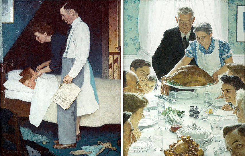 Freedom from Fear Fear and Freedom from Want Want by Norman Rockwell