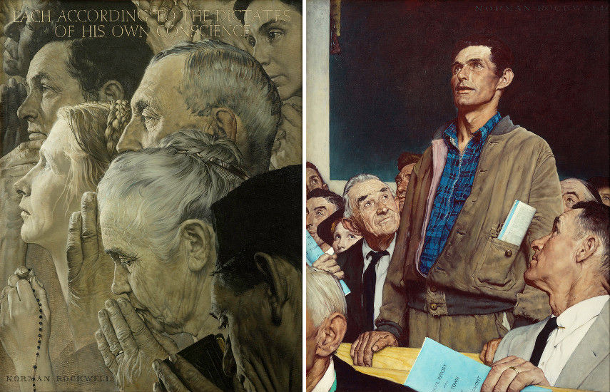 Freedom of Worship painting and Freedom of Speech painting by Norman Rockwell