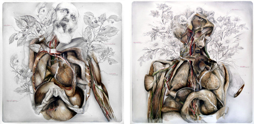 NunzioPaci - Atropia, 2015 (left) - When the flesh sleeps, everything sleeps, 2015 (right) - pencil