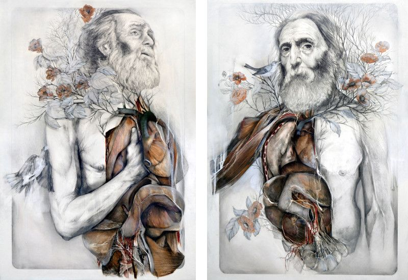 NunzioPaci - The last pulse (Left) / The slow sprouting of the flesh (Right) - anatomy