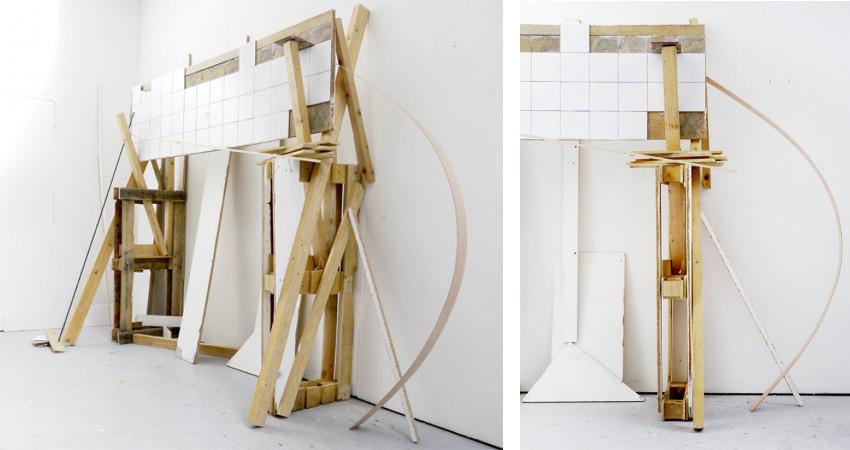 Left: Nural Moser - Arrangement 100613 / Right: Nural Moser - Arrangement 100613 (detail) - untitled - rauminstallation - pumpe