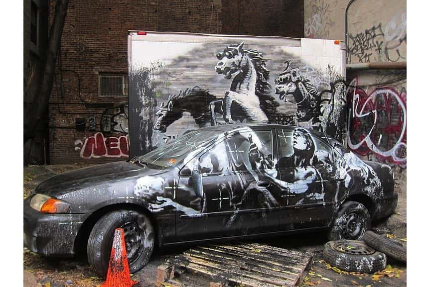 Banksy Better Out Than In mural in New York, Day 9th, Lower East Side
