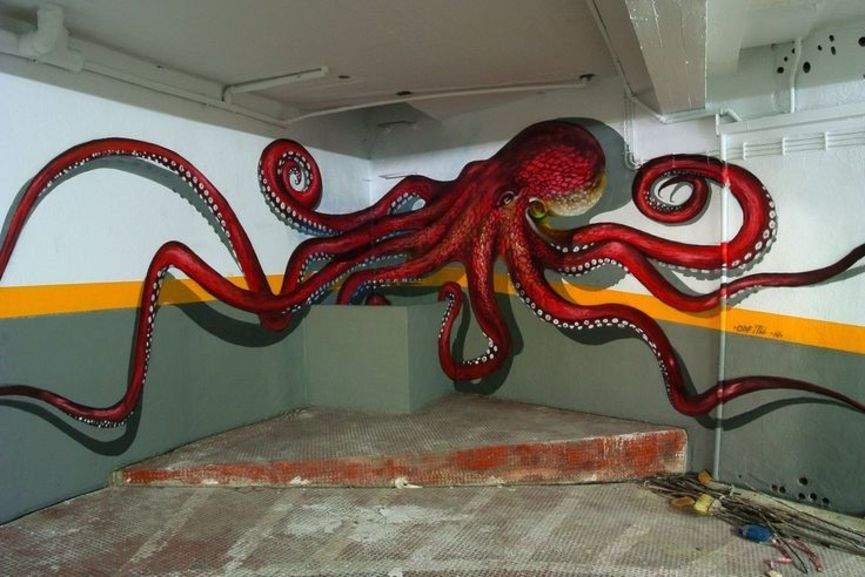 3D Street art,  view, optical, anamorphic, illusion, painting, video