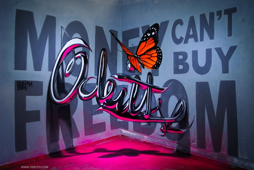 Odeith - Money Can't Buy Freedom, 2015 letters facebook painting instagram walls