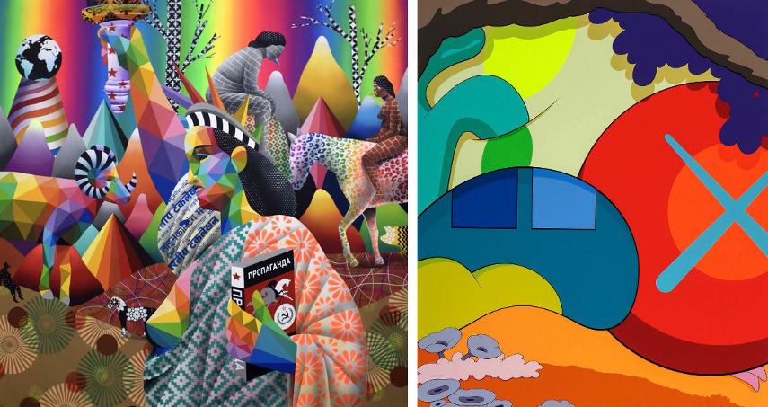 Okuda Sa Miguel - Boreal Revolution, KAWS - You Should Know I Know, on view at the Los Angeles Convention Center