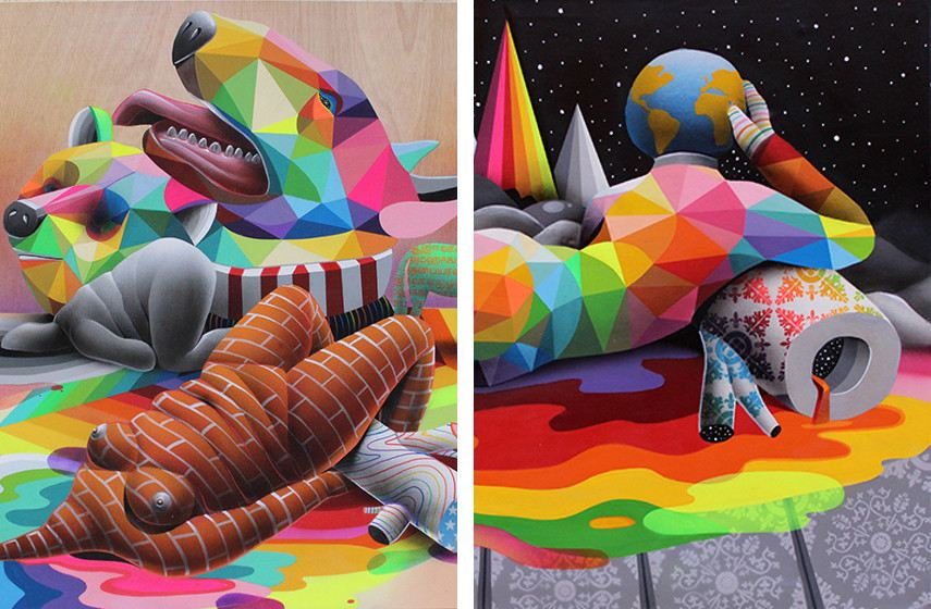 Okuda San Miguel - Suicidal Tendences (detail) (left), 2015, Infinite Mirror (detail) (right), 2015