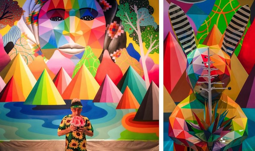 Okuda in front of his mural, Okuda, Rabbit head
