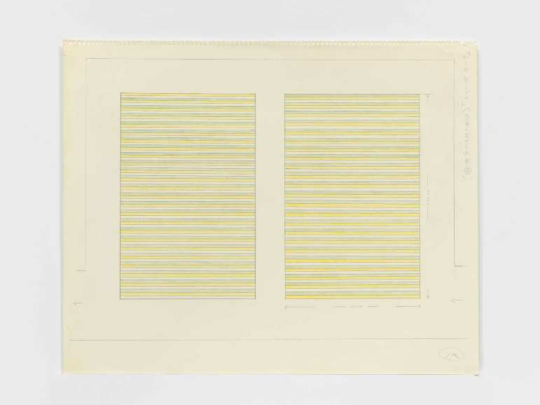 On Kawara, Paris–New York Drawing no. 144, 1964, Graphite and colored pencil on paper, perforated top edge. Collection of the artist, Photo: Courtesy David Zwirner, New York/London