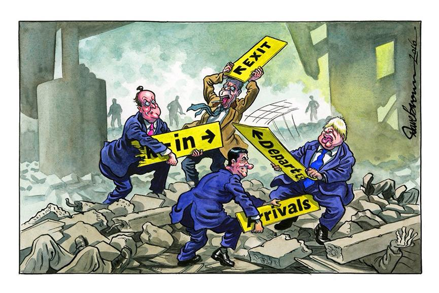 Original cartoon on the subject of the EU Referendum by Dave Brown