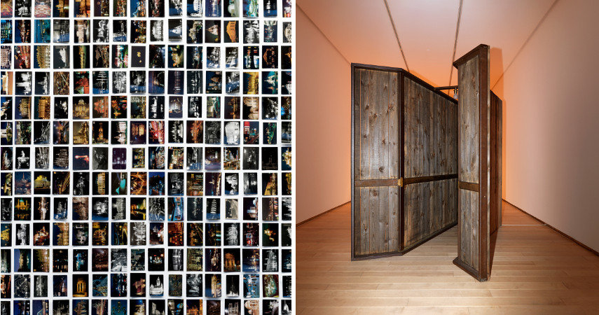 Oriol Vilanova - The night was a color, 2017, Installation / Miroslav Balka - 196 X 230 X 141, 2007, Steel, wood, light bulb, sensor